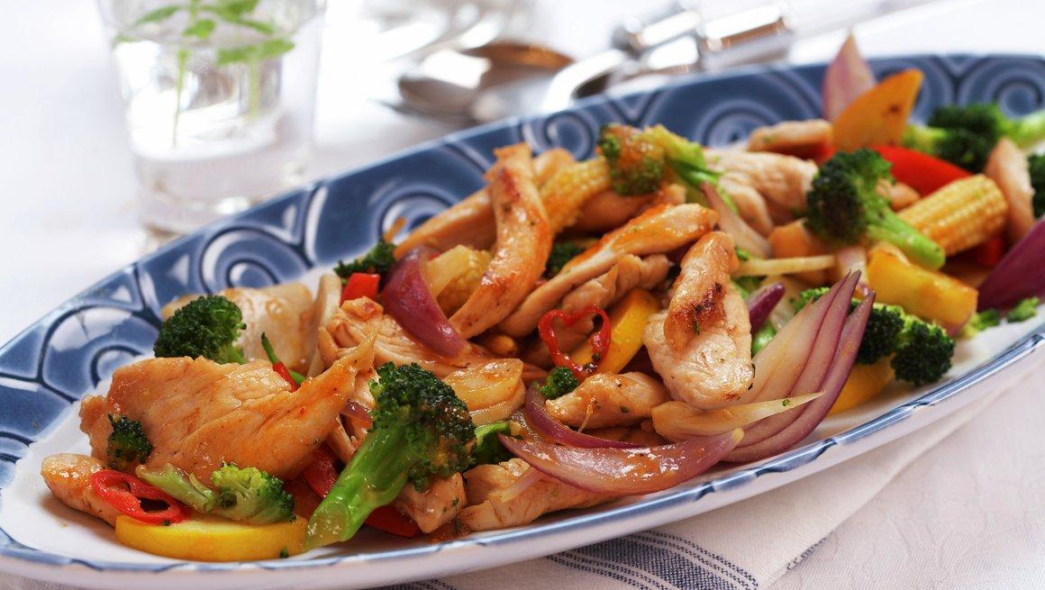 Kylling- og grønnsakwok
