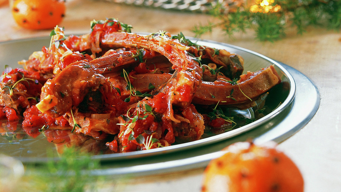 Pinnekjøtt i tomatsaus