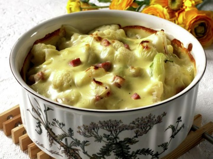 Blomkål med skinke og ost