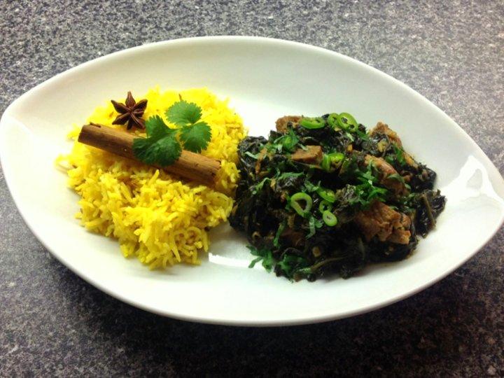 Indiskinspirert lammegryte med spinat