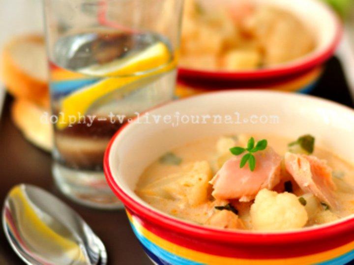 Суп с форелью и цветной капустой