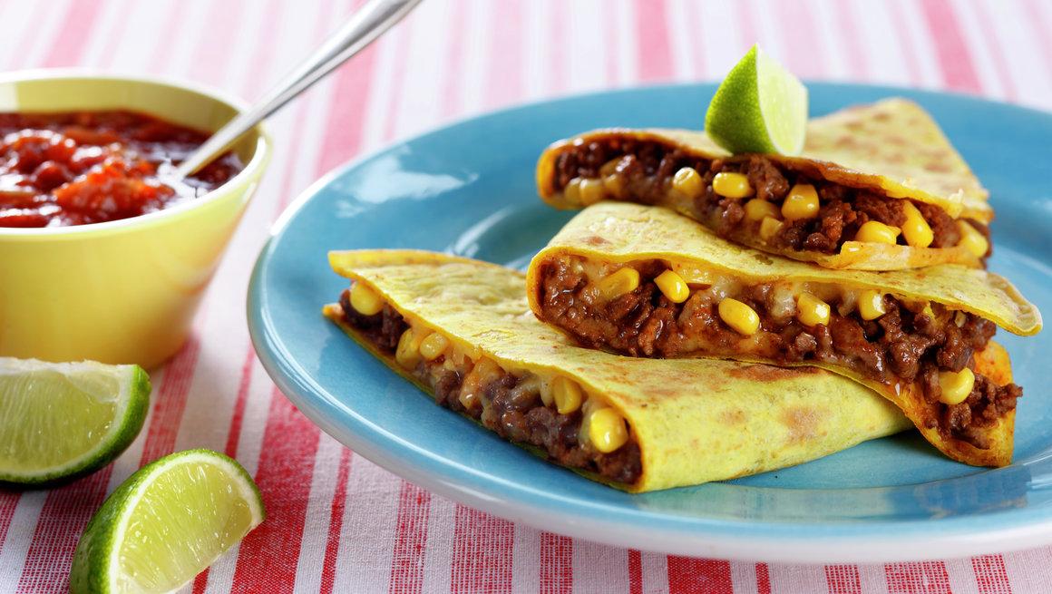 Quesadilla med kjøttdeig og mais
