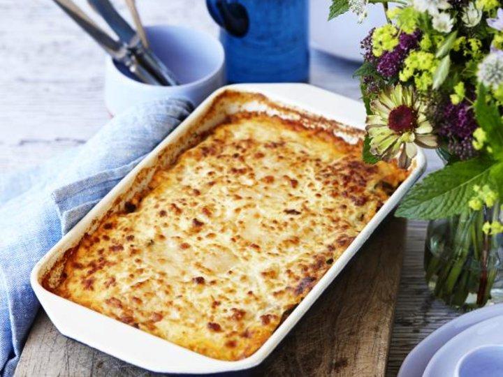 Lasagne med kjøttsaus og squashplater