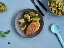 Kyllingfilet med sennep og tomat