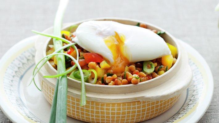 Posjert egg med linser