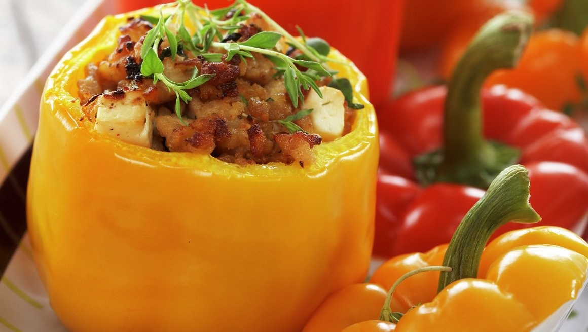 Paprika fylt med kyllingkjøttdeig