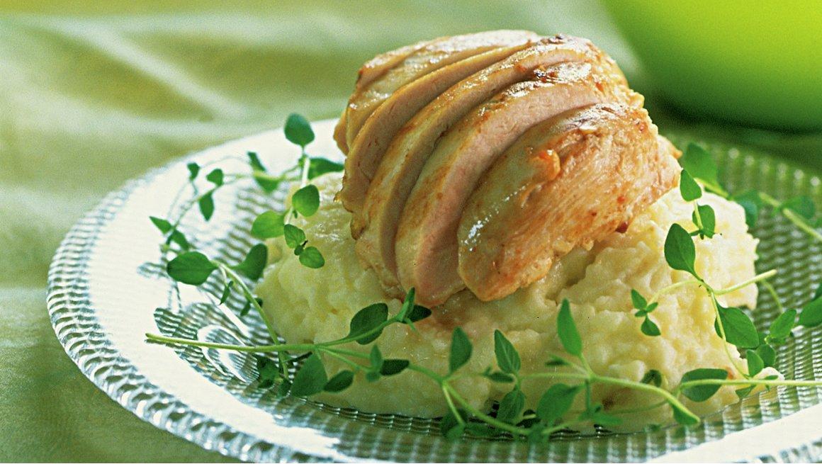 Kyllingfilet med potet- og sellerimos
