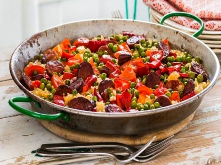 Paella med chorizo