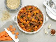 Biffgryte med søtpotet og quinoa