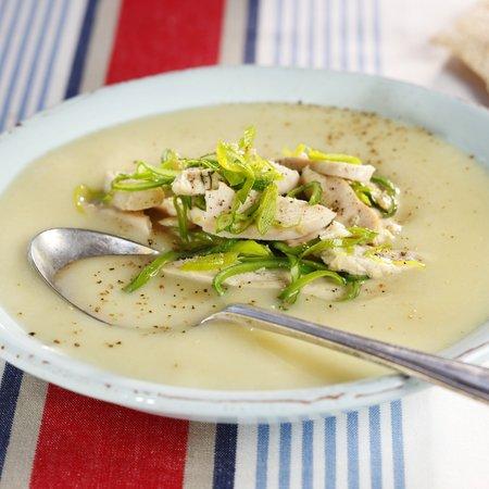 Purre- og hvitløksuppe med kylling