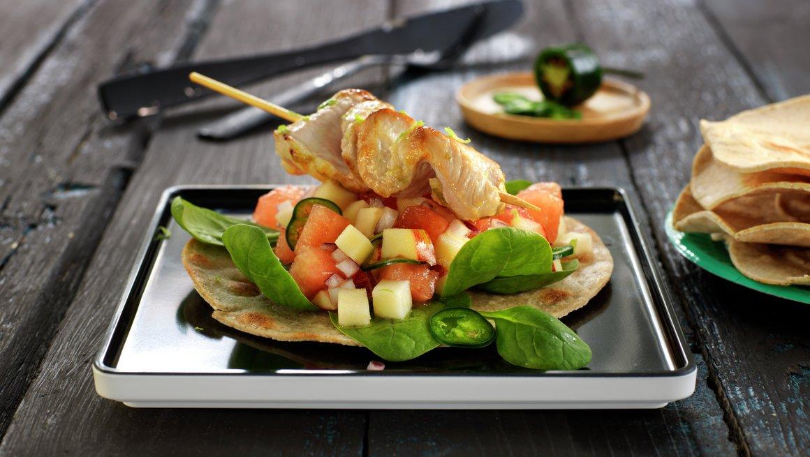 Marinert skinkebiff med eple- og melonsalat