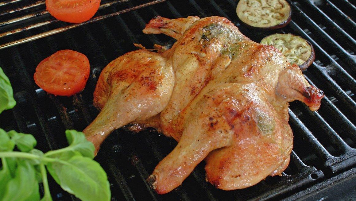 Utbrettet kylling på grillen - trinn 3