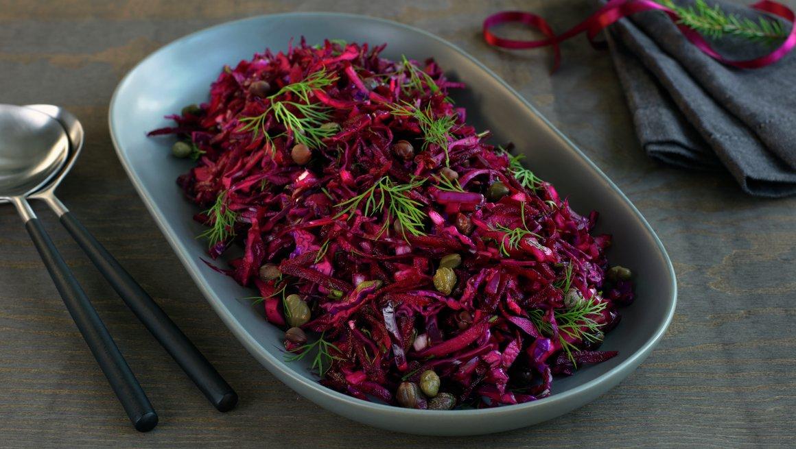 Rødkål- og rødbetsalat
