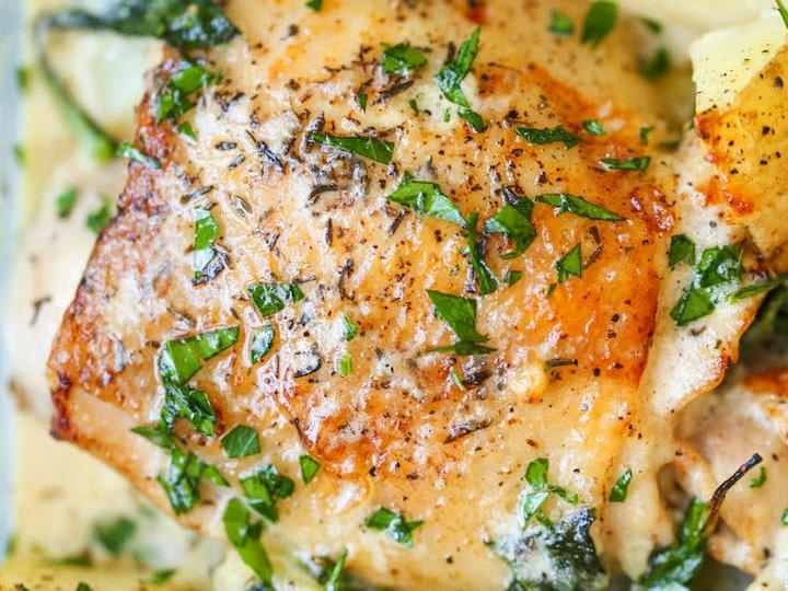 Kylling og potet i parmesan saus.