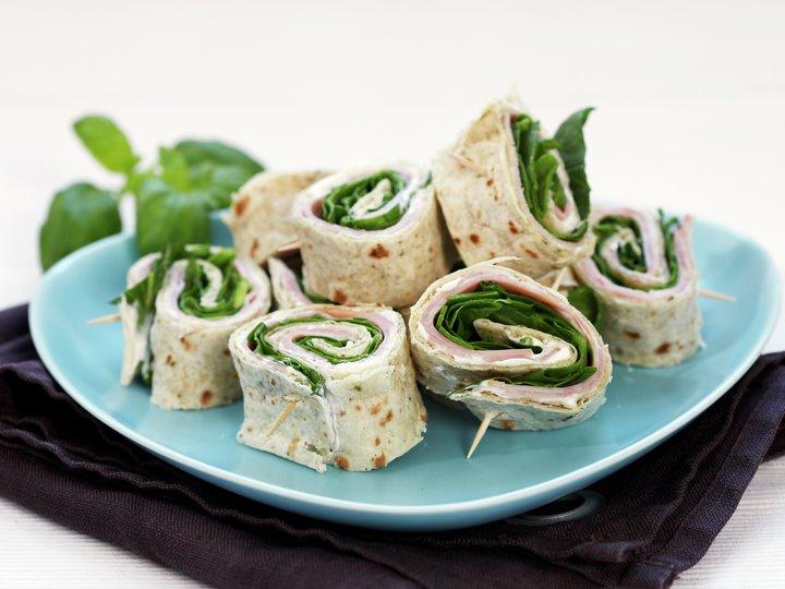 Spinat- og skinkewraps