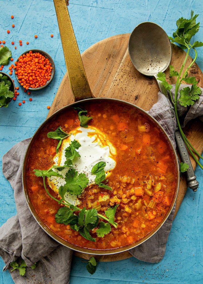 Vegetarisk linsesuppe
