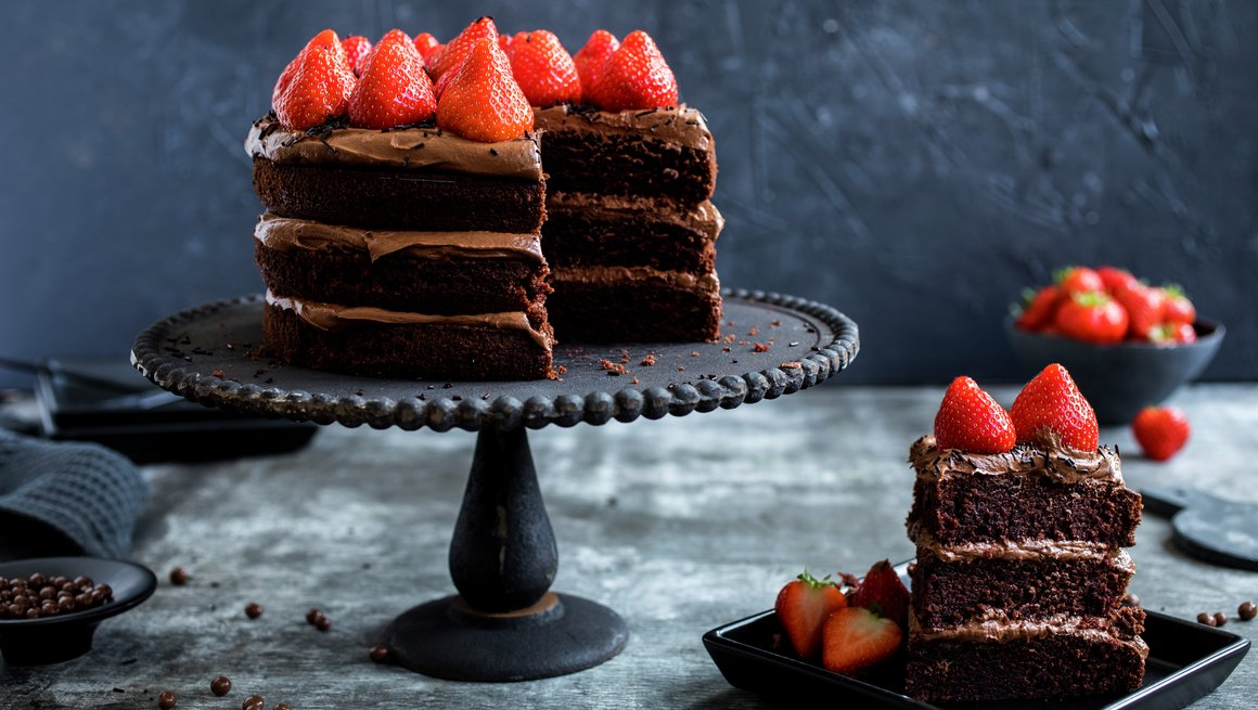 Sjokoladekake med jordbær