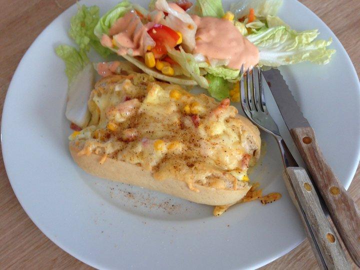 Baguetter med egg og skinke