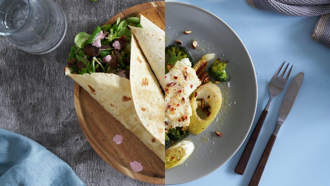 Wraps med reinsdyrskav og tyttebærrømme + Ovnsstekt torsk med brokkoli og purre