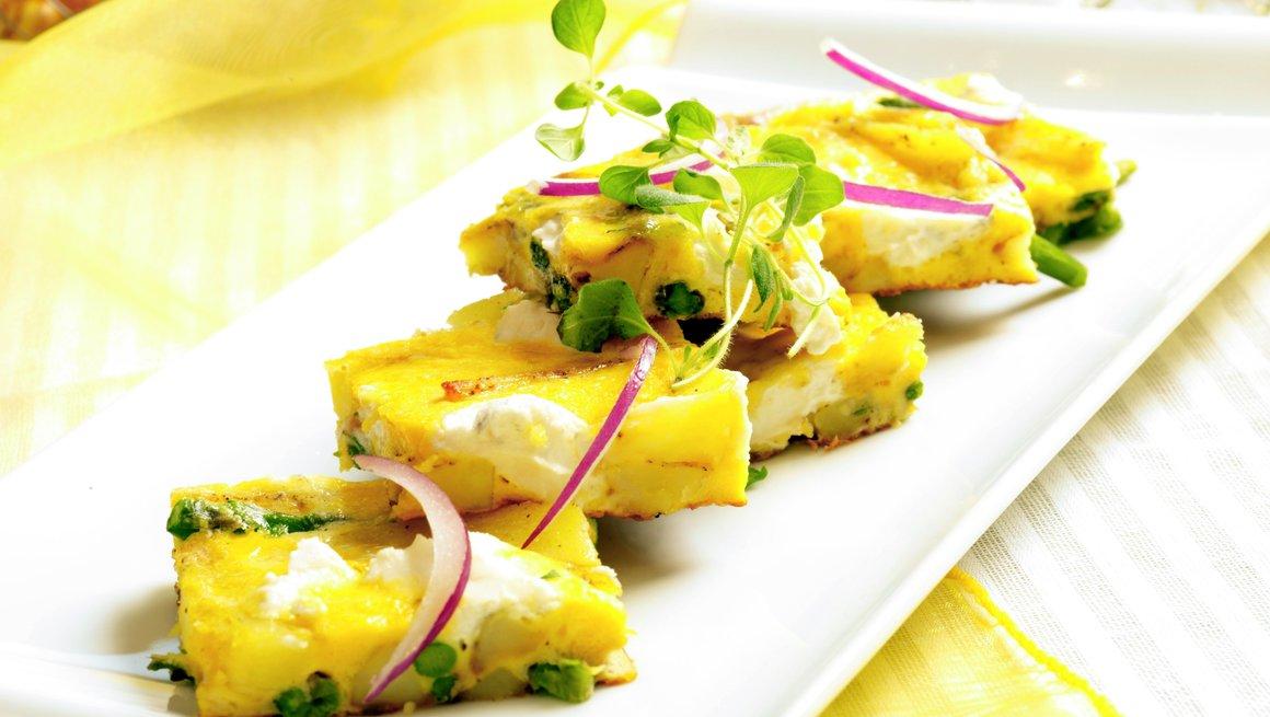 Frittata med asparges, potet og chèvre
