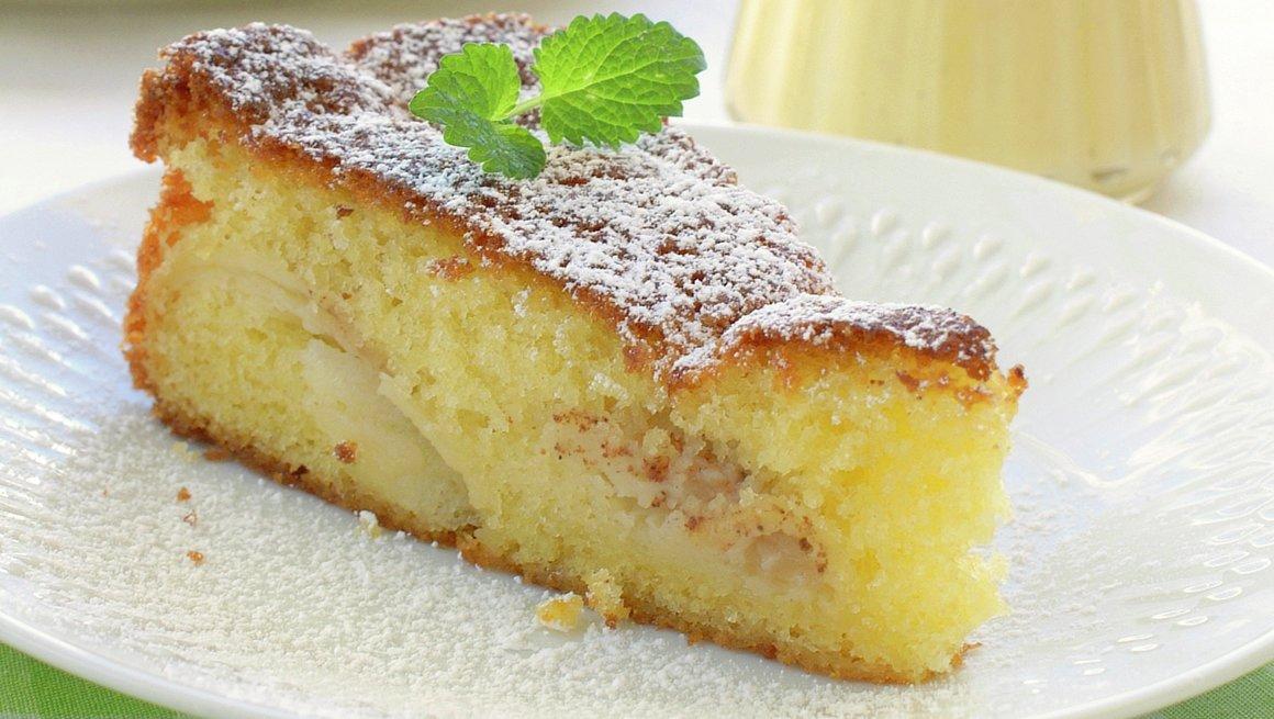 Eplekake med vaniljesaus