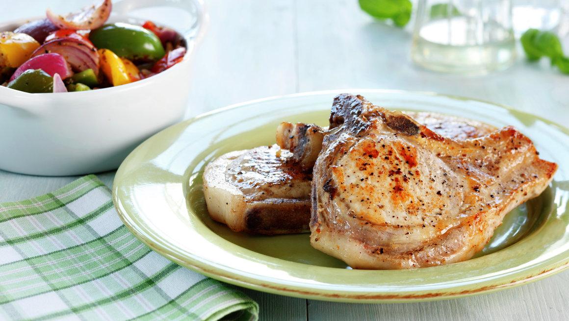 Koteletter med urte- og hvitløksgrønnsaker