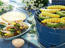 Fajitas med grillet mango og avokado