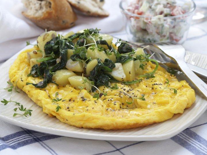 Omelett med potet og spinat