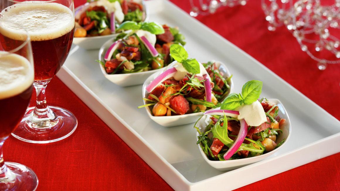 Hvit bønnesalat med pinnekjøtt