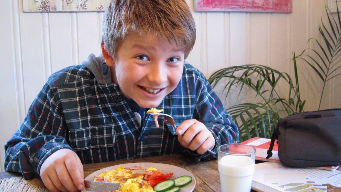Andreas har laget omelett