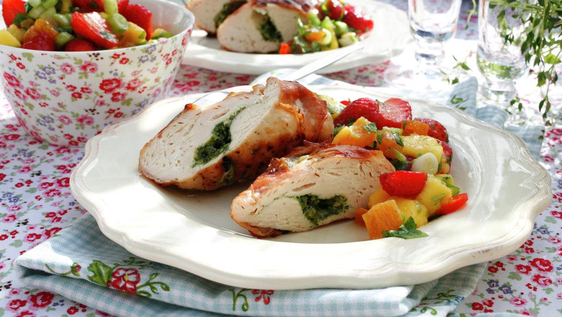 kyllingfilet jordbær- og mangosalsa