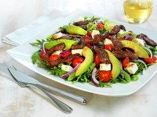 Rucculasalat med strimlet biffkjøtt