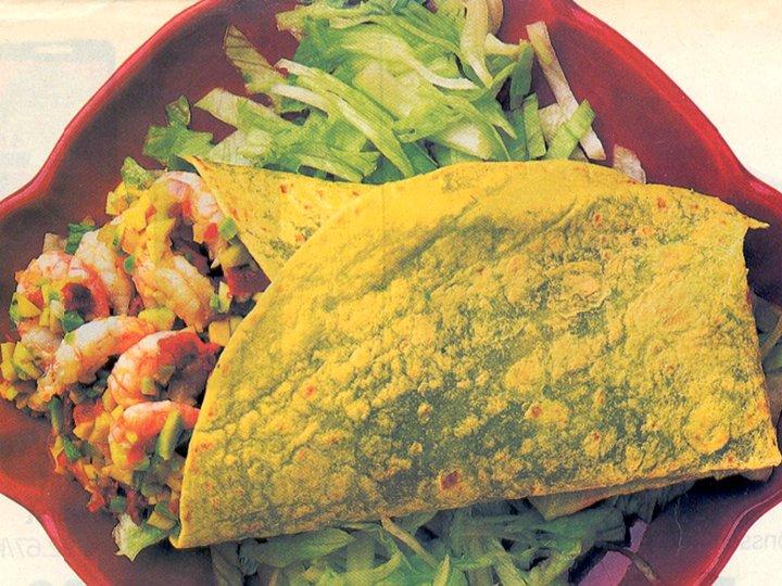 Tortilla med reker og guacamole