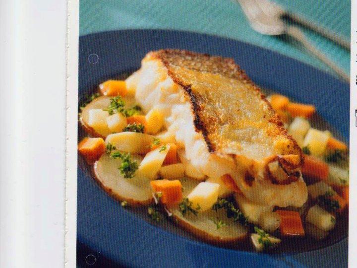Hvitløkstorsk med rotgrønsaker
