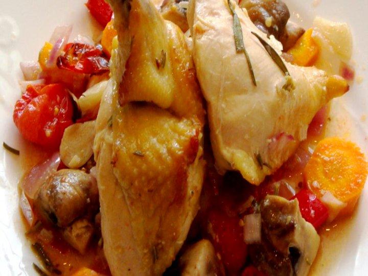 Sitron og rosmarin marinert kylling. Servert med potetmos.