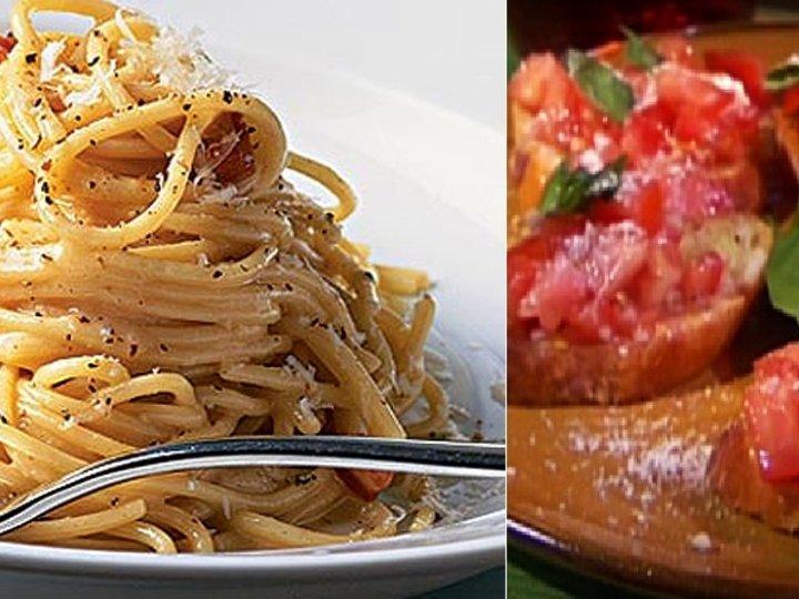 Bruschetta og Spagetti alla carbonara