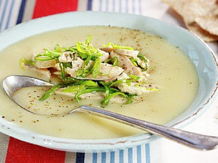 Purre og hvitløkssuppe med kylling