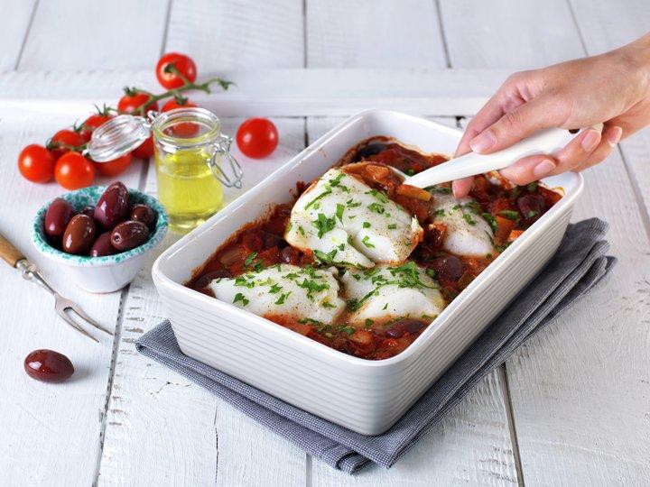 Torsk I Form Med Tomat Og Oliven Matprat