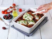 Torsk i form med tomat og oliven