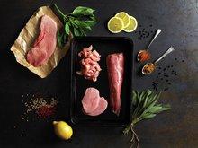 Råvarebilde skinkebiff og annet renskåret svinekjøtt