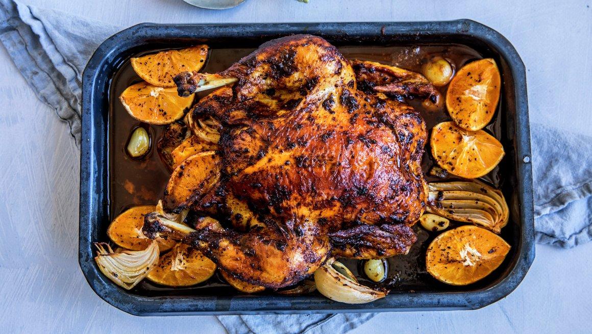 Helstekt kylling med appelsin