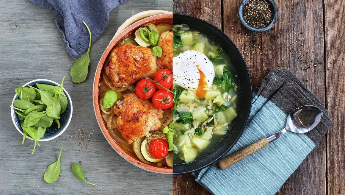Kyllinglår med cerrytomater og grønn grønnsaksuppe