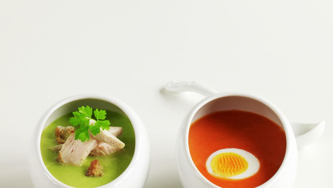 Grønnsaksuppe og tomatsuppe
