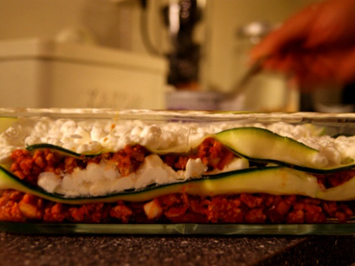 Squash- og cottage cheese lasagne