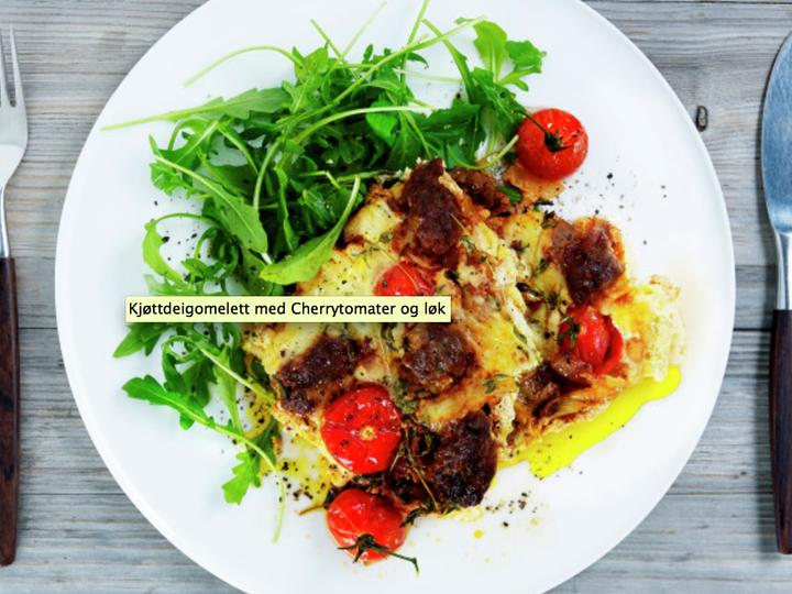 Kjøttdeigomelett med Cherrytomater og løk
