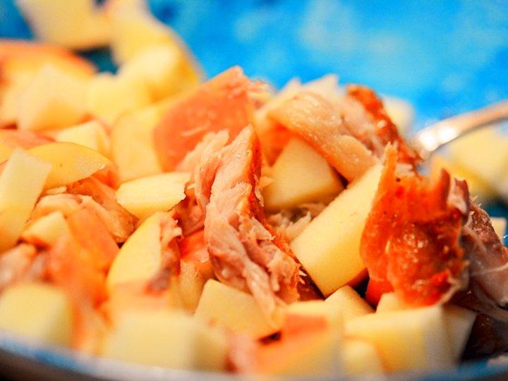 Peppermakrell med eple, salat