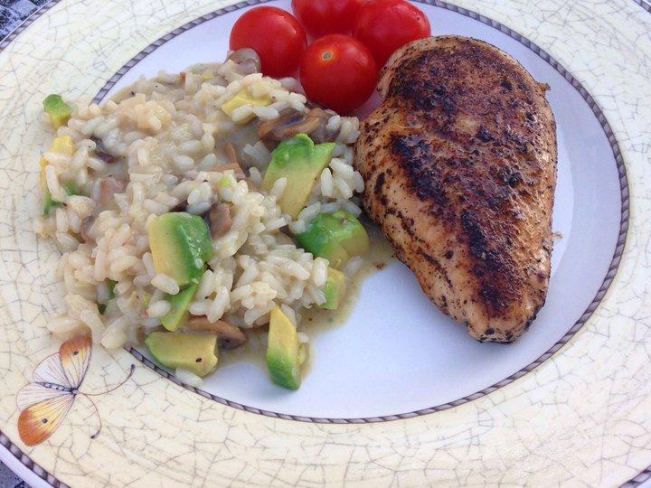 Risotto med sopp og avokado