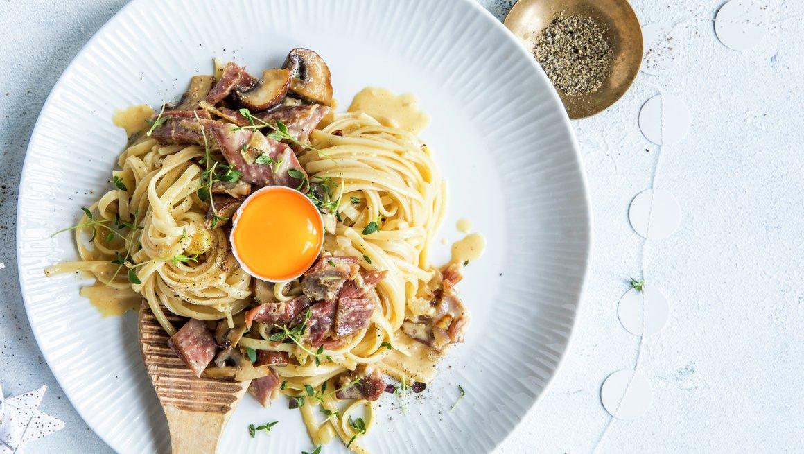 Pasta Carbonara med pinnekjøtt