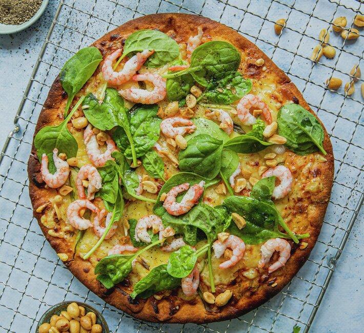Hvit pizza med reker
