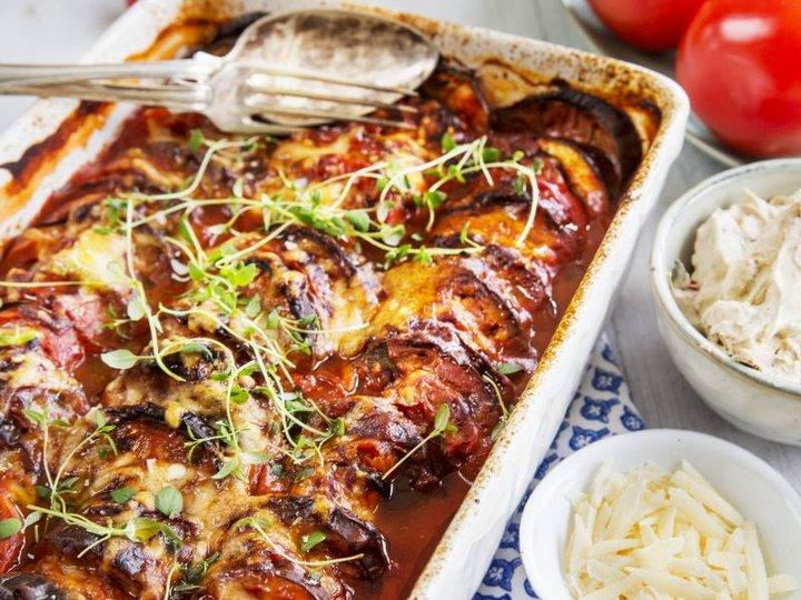 Grateng med aubergine og parmesan